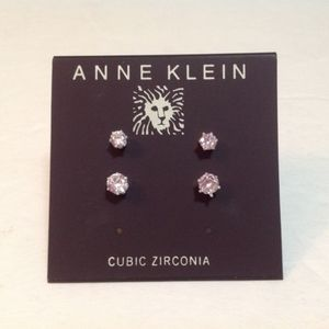 Anne Klein Silver Cubic Zirconia Earrings